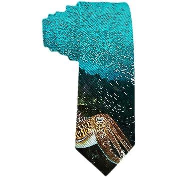 Corbata de hombre con pulpo dorado y racimo de peces en corbata de ...
