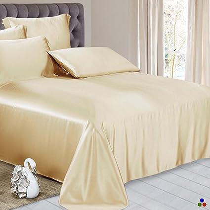 ElleSilk Pure Silk Flat Sheet, 22 Momme Silk Sheet, 100% Mulberry Silk Bed