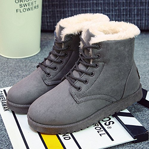 GreatParagon Paragon Winter Women Slippers Boots Ladies Snow Boots Flat Lace Up Ankle Boots Faux Fur Warm Lined Gray rzDiQuqE