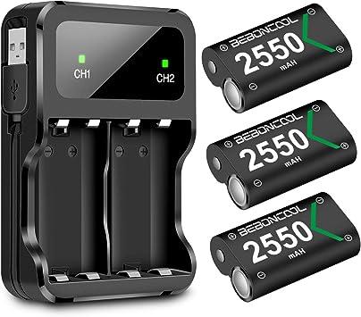 BEBONCOOL - Batería para mando Xbox One, paquete de 3 unidades de 2550 mAh para Xbox One