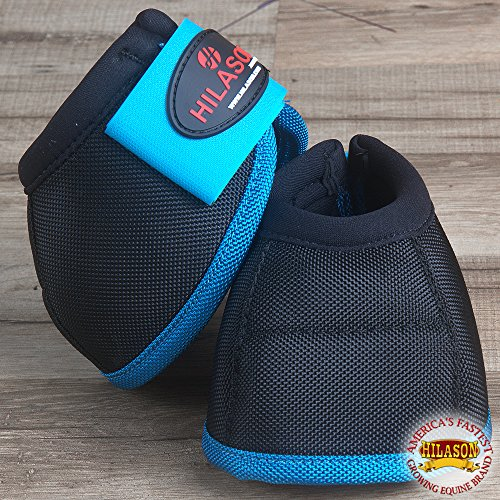 HILASON SML HORSE BALLISTIC OVERREACH NO TURN BELL BOOTS PAIR BLACK TURQUOISE by HILASON (Image #1)