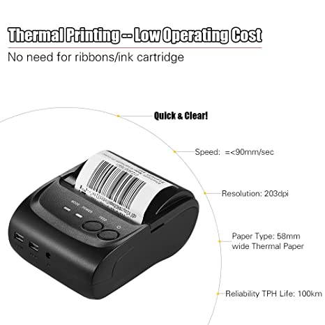 KKmoon POS-5802LN Portale Mini 58mm 1 To 8 Wireless Thermal Printer Receipt Bill Ticket POS Printing