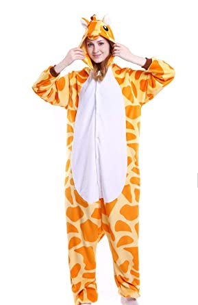 7f62afb056 Amazon.com  CHARWOR Adults Onesie Pyjamas Flannel Animal Cosplay Costume  Hoodie Sleepwear  Clothing