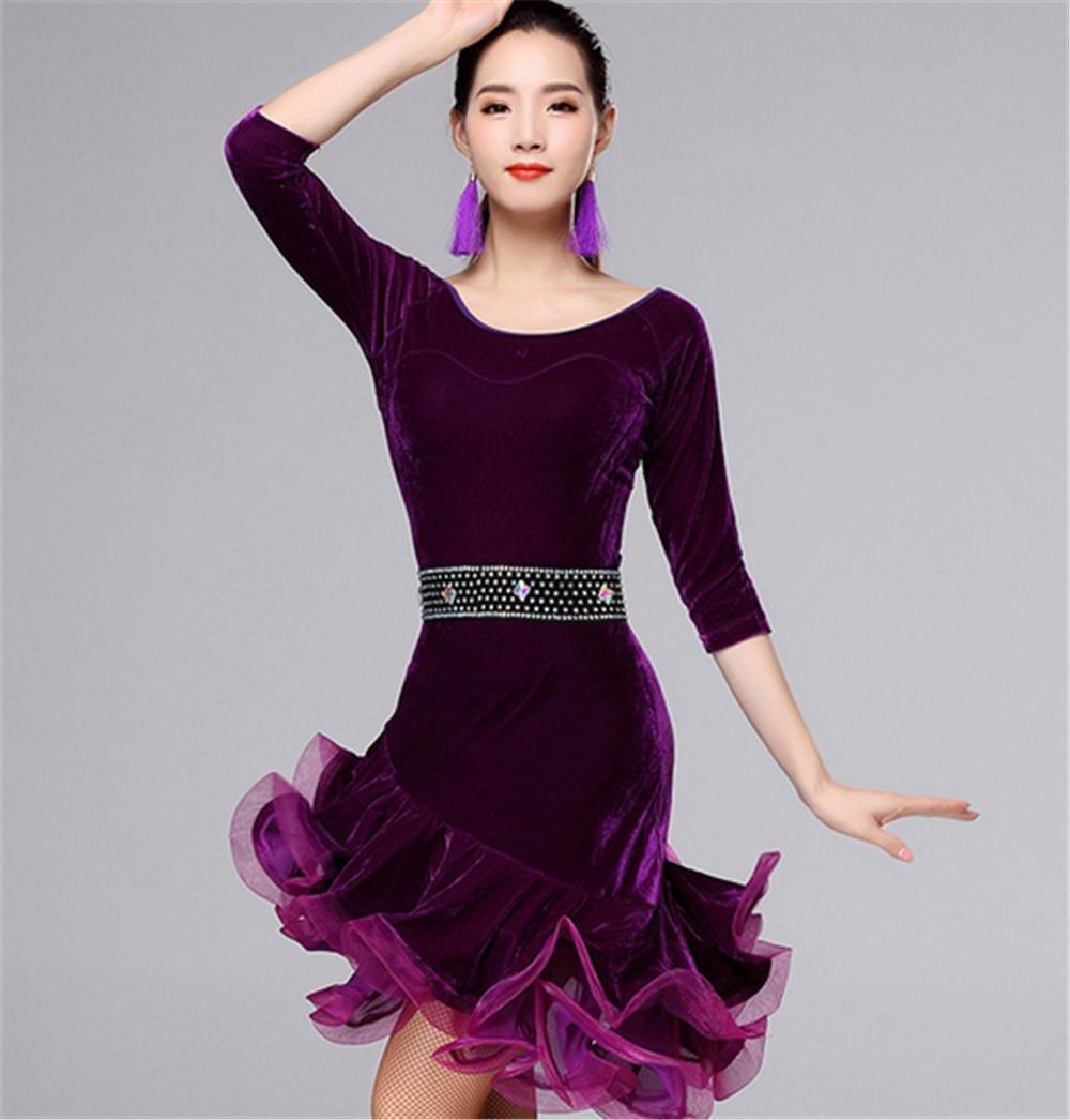 Violet Danse Latine Robe Femmes Hiver Velours Chaud Jupes Seulement M
