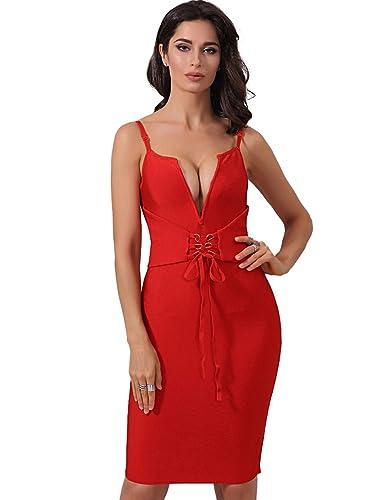 Adyce Bandage-Dress-Sexy-Vestito Donna benda vestito rosso profondo v merletto sexy bodycon midi ves...