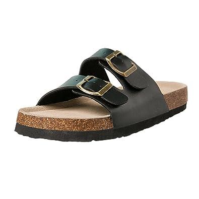 c647861e491539 Women Slide Sandals Summer Beach Slippers Slip on Shoes Cork Sole Sandal  (Black
