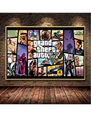 Grand Theft Auto V Video Game Gta 5 Print Poster Wall Art Canvas Schilderij Voor Woonkamer Massief Hout Opknoping Scroll Home Decor S66 50X70Cm (Zonder Frame)