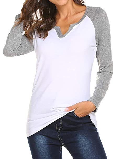 bf83ef2ba Image Unavailable. Image not available for. Color: Locryz Womens V Neck  Raglan Long Sleeve Shirts ...