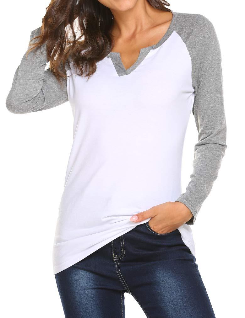 Locryz Women Contrast Color Casual Raglan Sleeve Long Sleeve T Shirts Tops White Gray M