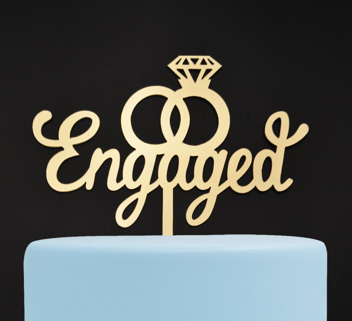 Engaged Cake Topper- Engagement Wedding Party Decorations (Gold)
