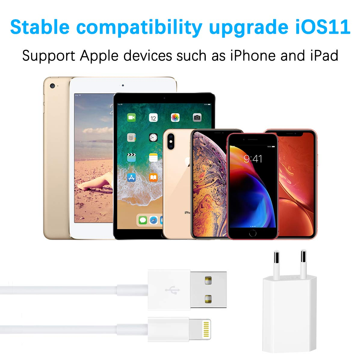 2-Pack-1M Adaptateur USB Universel Mural /& Chargeur Phone pour iPhone XS,XR,XS Max,X,8,8 Plus,7,7 Plus 6s Plus 5s WUXIAN Chargeurs Secteur with C/âble MFI certifi/é