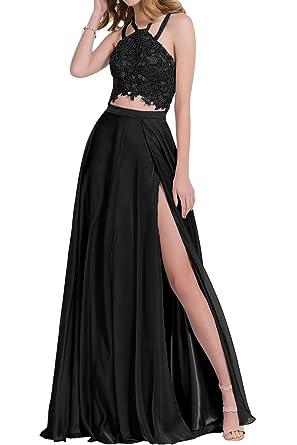 MILANO BRIDE Vogue 2 Pieces Backless Halter A-line Split Prom Homecoming Dresses-2