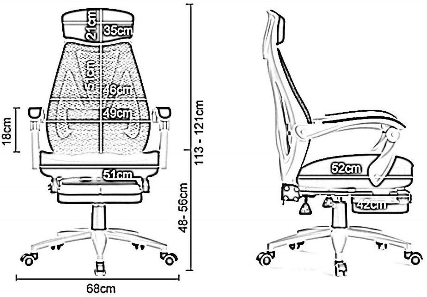 Xiuyun Liggande dator stol skrivbordsstol ergonomisk design stol med ländrygg stöd luta 160° hög rygg vridbar nätstol med fotstöd bärande vikt 120 kg (färg: svart) Svart