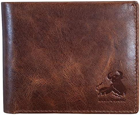 Mens RFID Blocking Bifold Wallet Soft Genuine Leather Brown Western