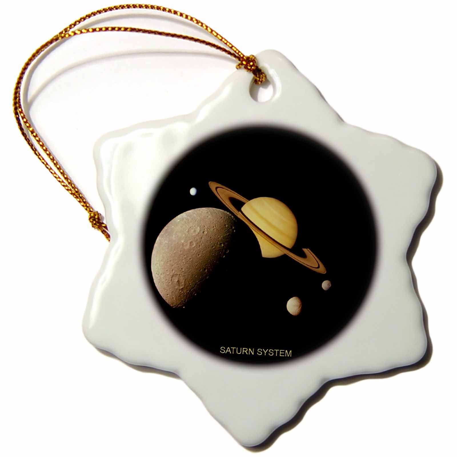 3dRose orn_76852_1 Solar System-Montage of Saturn System-Snowflake Ornament, 3-Inch, Porcelain