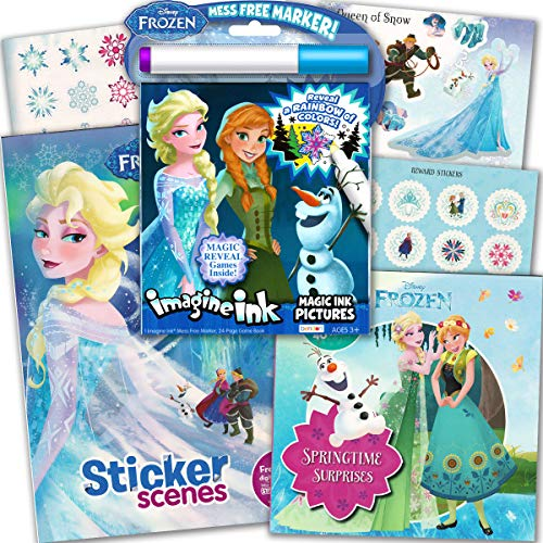 Disney Frozen Imagine Ink Coloring Activity Book Deluxe Set -- Including 2 Frozen Sticker Books with Over 80 Stickers