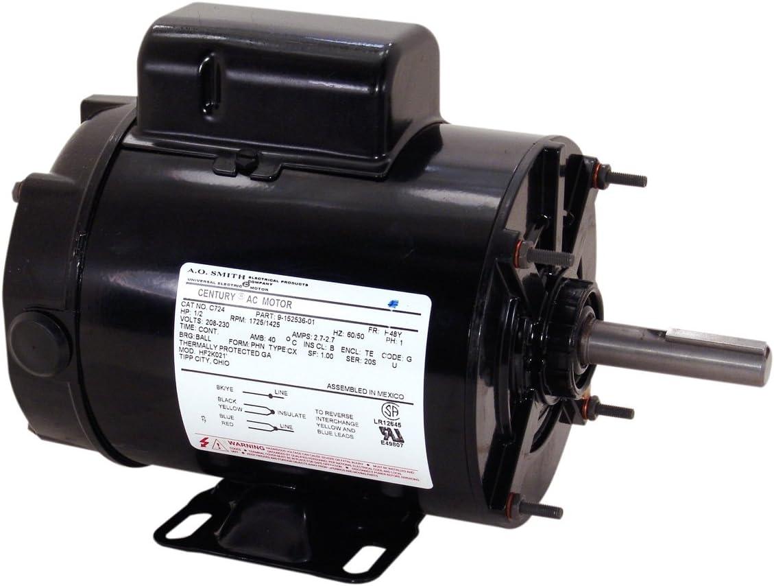 TEAO Enclosure Ball Bearing Reversible Rotation Transformer Cooling Tower Motor Century Electric//AO Smith Motors Co Smith C724A 1//2 HP A.O