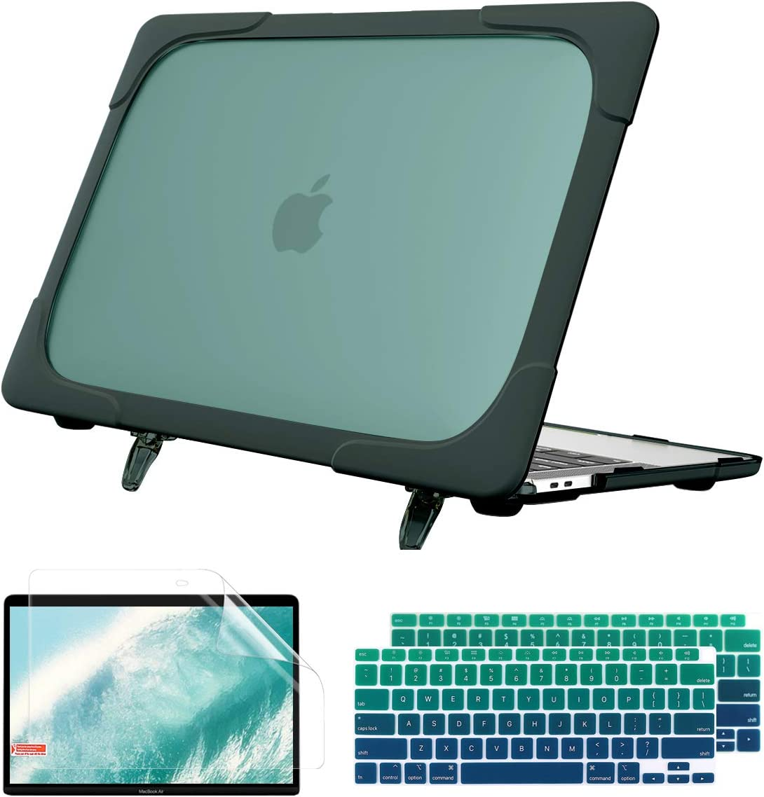 Batianda Case for MacBook Air 13 Inch 2020 2019 2018 Model A2337 M1 A2179 A1932 with Touch ID, Heavy Duty Shockproof Hard Shell Case with Fold Kickstand & Keyboard Cover Skin, Deep Teal