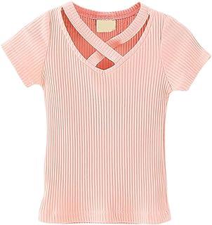 Shiningup T-Shirt con Scollo a V Bambino T-Shirt Manica Corta per Uomo di 9 Mesi a 4 Anni