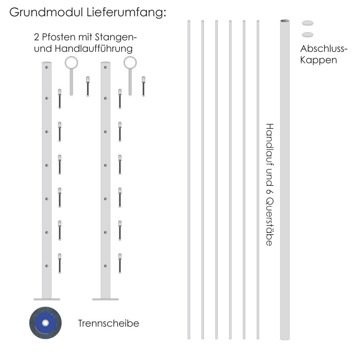 Gel/ändersystem BERLIN f/ür aufliegende Montage V2A Edelstahl Grundmodul
