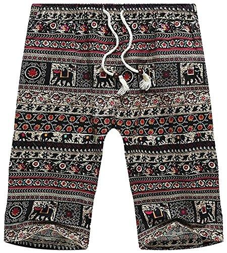 Men's Tribal Elephant AZTEC Printed Elastic Waist Beach Boardshorts Shorts, US 34 (Waist) = Asian Tag (Aztec Printed Shorts)