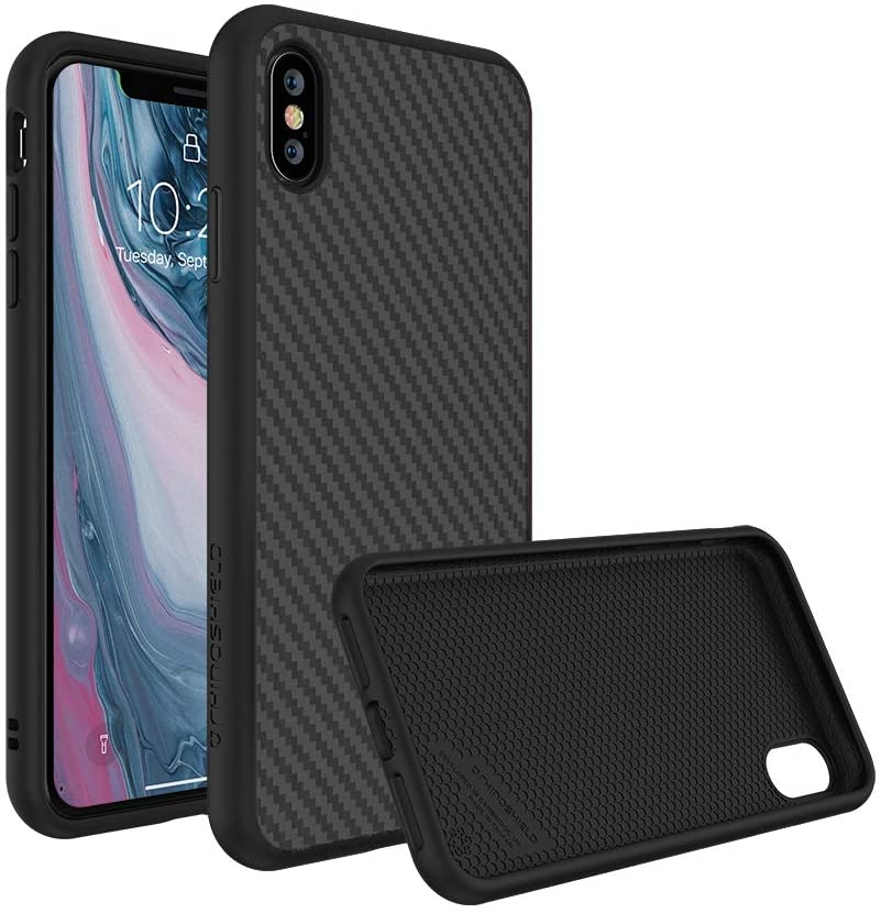 RhinoShield Full Impact Protection Case Compatible with [iPhone X] | SolidSuit - Military Grade Drop Protection, Supports Wireless Charging, Slim, Scratch Resistant - Carbon Fiber Texture