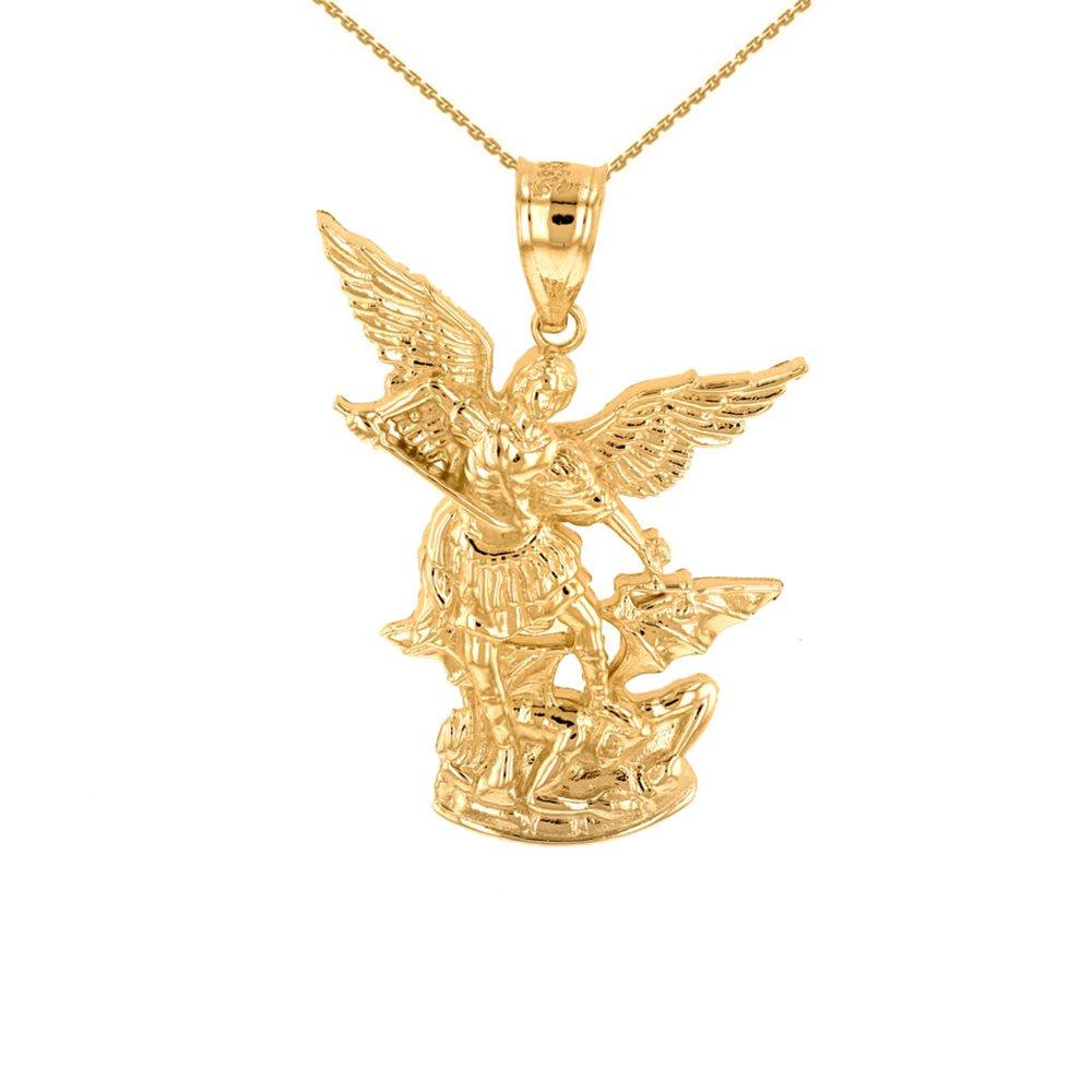 14k Yellow Gold Saint Michael The Archangel Charm Pendant Necklace