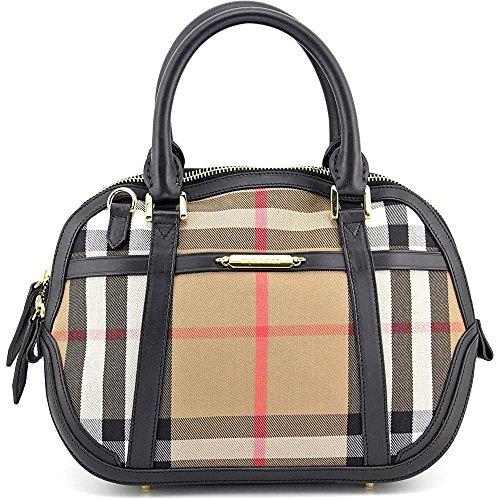 Burberry Sartorial House Check Bowling Bag - Black