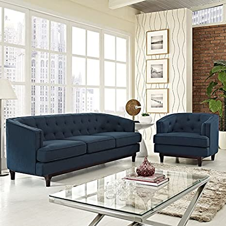 Modway Coast Upholstered Fabric Contemporary Modern Sofa and Armchair Set  in Azure