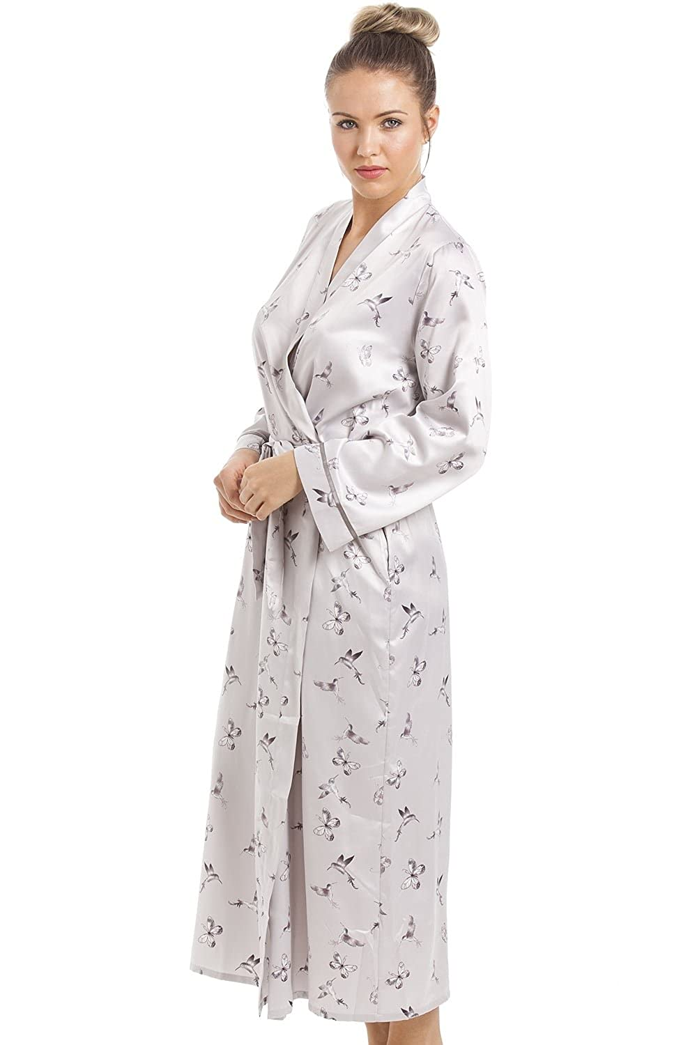 Camille Womens Ladies Silver Humming Bird and Butterfly Long Satin Dressing Gown