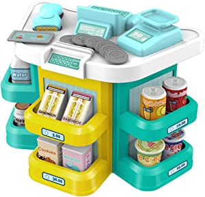 pozzolanas Pretend Play Toys,Cash Register Toys for Kids with Scanner Play Money Supermarket Grocery Toys Educational Playset Role Play Kits as Holiday Birthday Xmas Gift for Girls Boys