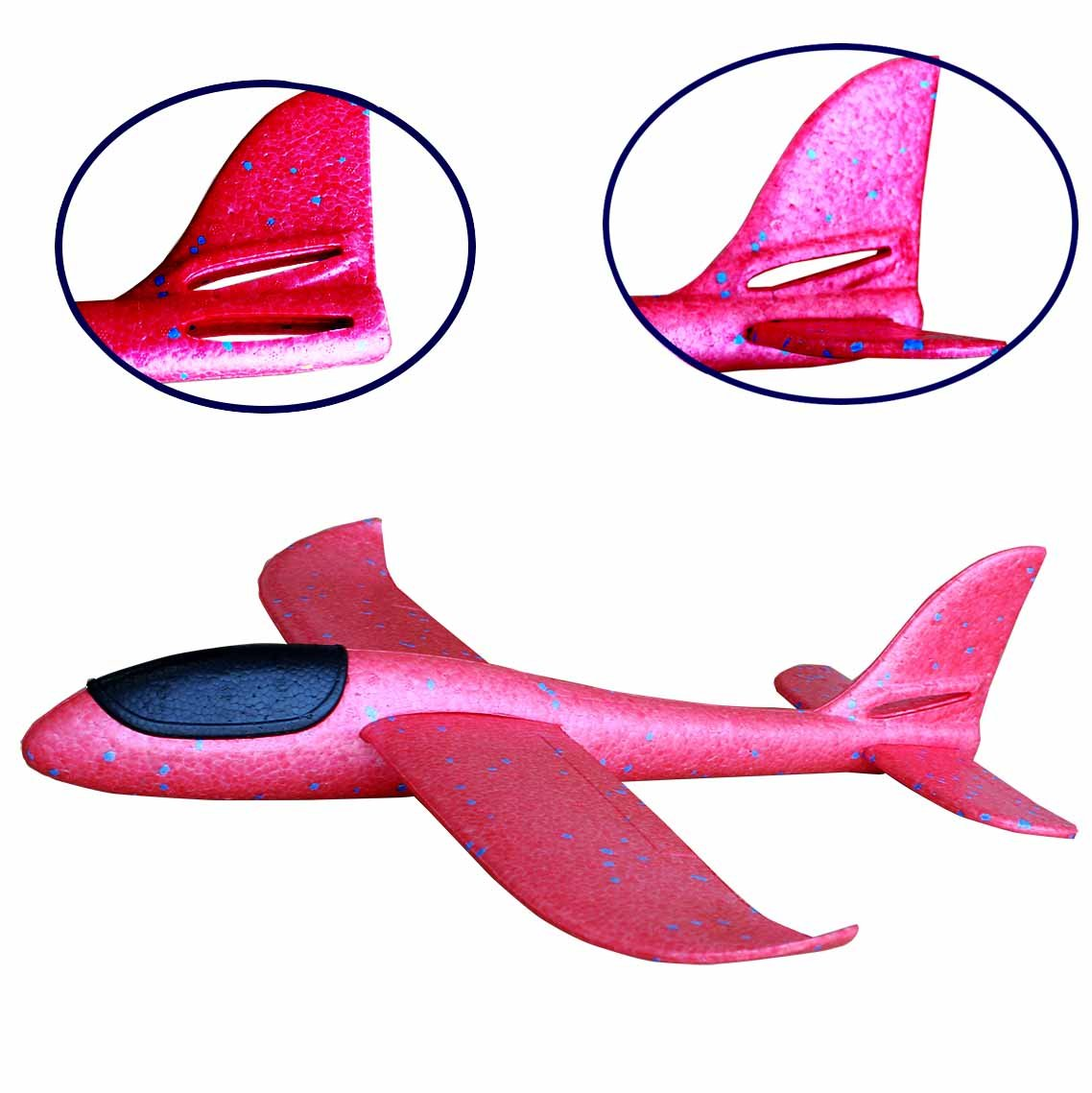 Eiito Throwing Foam Airplane, 2 Flight Mode Hand Launch Glider Plane inertia aircraft (Big 18.9 inch) Blue Kids Ourdoor Sports Toy Gift (Red 48cm-Big)