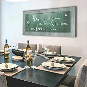 Sense of Art | Bless This Food Quote | Wooden Framed Canvas | Ready to Hang Wall Art for Home Decoration | (Green, 42x19)…