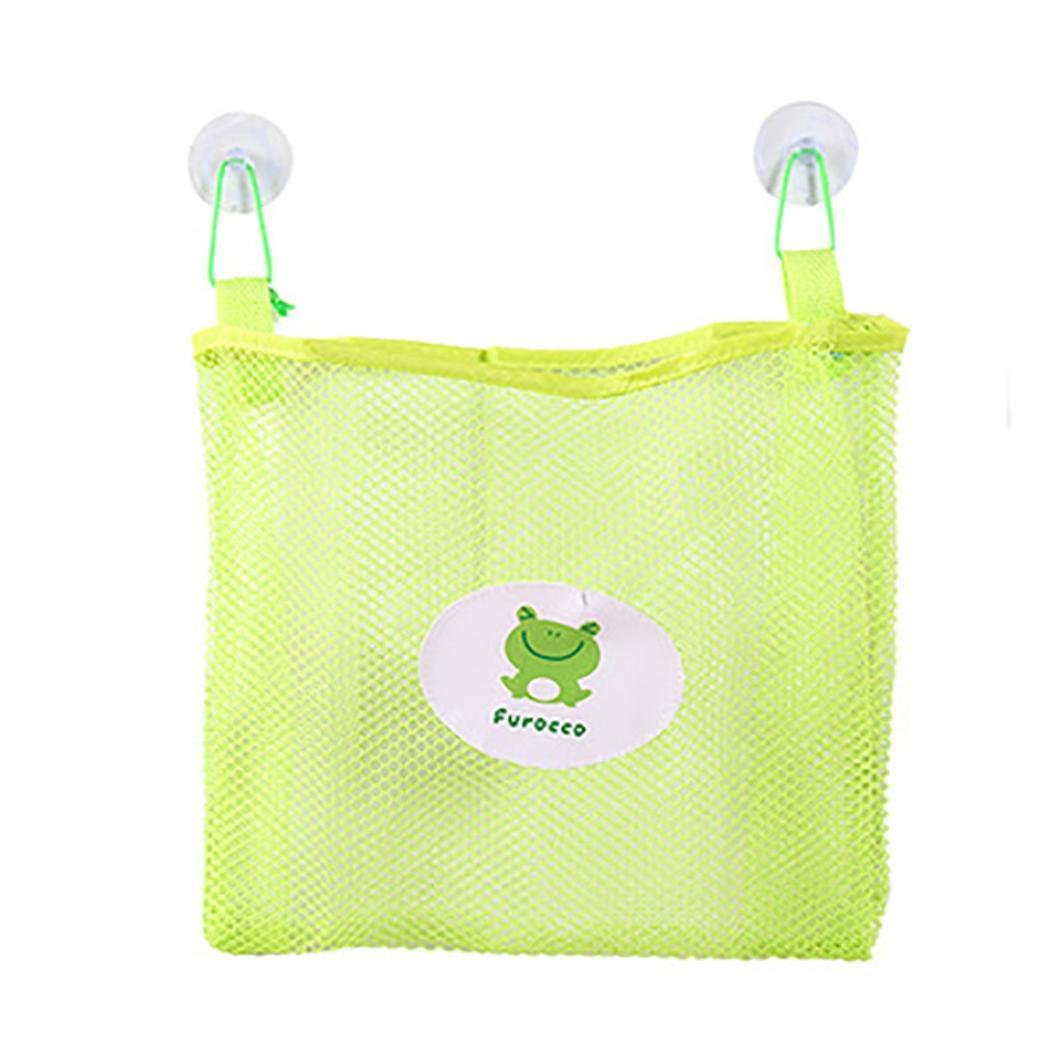 Vovomay Bath Time Tidy Storage Toy Suction Cup Bag Mesh Bathroom Organiser Net (Green)