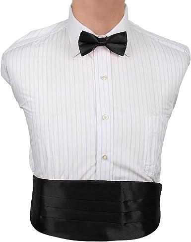 Amazon.com: Black Solid Casual Cummerbunds Satin Cummerbunds Bow Tie Set  Clip-On Adjustable Party Formal DIC1E01D Dan Smith Black: Clothing