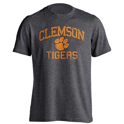 820ca869 Clemson University Tigers Distressed Retro Logo Tiger Paw Ash Heather Short  Sleeve T-Shirt (