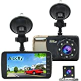 Accfly Full HD 1080P 4.0 inch IPS Screen Car Dash Cam F2.0 Big Eye Dual Lens Car DVR with Rear Camera, 170 Degree Wide Angle, Night Vision, LDWS, FCWS, WDR, Loop Recording, G-sensor (Version-1)