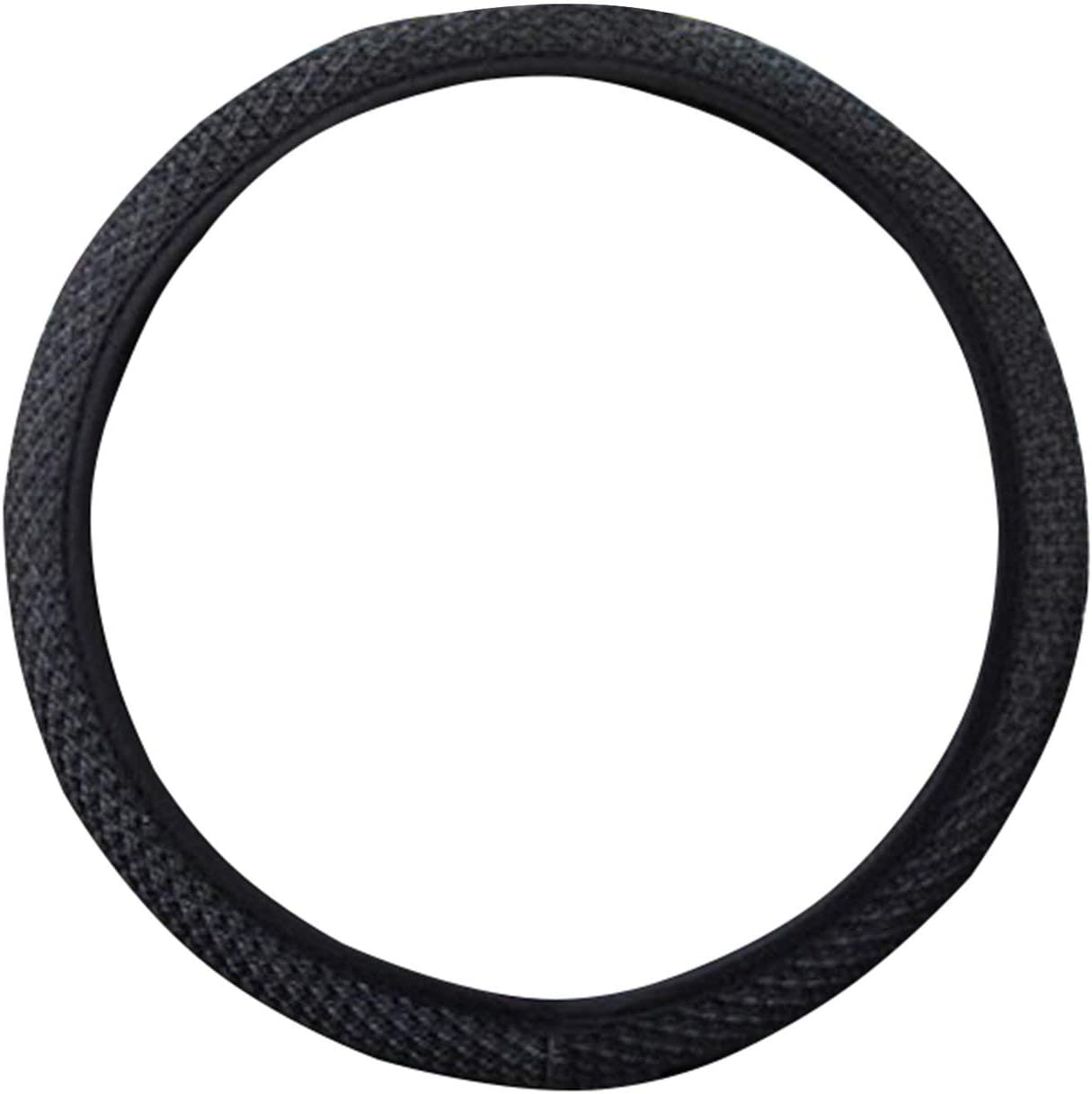 Black JIUY Universal Car Steering Wheel Cover Ice Silk Car Handle Covers Car-styling Microfiber Leather Wear-resistant