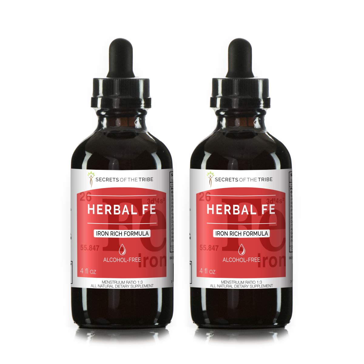 Herbal Fe Alcohol-Free Extract, Tincture, Glycerite Spirulina, Stinging Nettle, Parsley, Yellow Dock, Dandelion, Alfalfa, Gentian, Watercress. Iron Rich Formula (2x4 FL OZ)