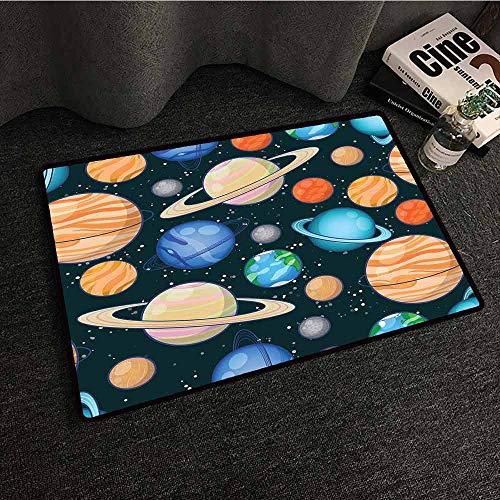 (Carpet for Living Room Galaxy,Cute Galaxy Space Art Solar System Planets Mars Mercury Uranus Jupiter Venus Kids Print,Multi,W31 xL47 Custom fit Floor mats)