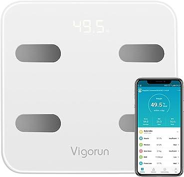 Báscula Baño Vigorun Báscula Grasa Corporal, Básculas Digitales con App y 17 Datos del Cuerpo,Balanza Baño para Peso,Músculo,Grasa Corporal,IMC, ...
