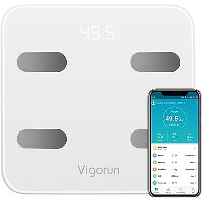Báscula Baño Vigorun Báscula Grasa Corporal, Básculas Digitales con App y 17 Datos del Cuerpo, Balanza Baño para Peso, Músculo, Grasa Corporal, IMC, BMR, Tasa de proteína, Masa Ósea, y así./max 180kg…
