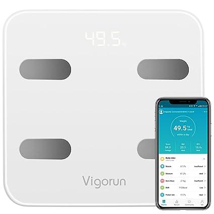 Báscula de Grasa Corporal Vigorun Bluetooth Básculas Digitales Básculas de Baño 17 Datos de Medición Corporal