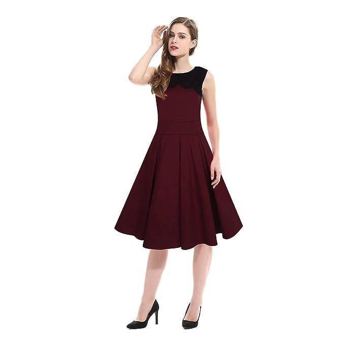 Polly Online - Vestido - Noche - Sin mangas - para mujer rojo rojo vino Medium