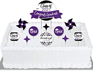 product image for Big Dot of Happiness Purple Grad - Best is Yet to Come - 2021 Purple Graduation Party Cake Decorating Kit - Congrats Graduate Cake Topper Set - 11 Pieces