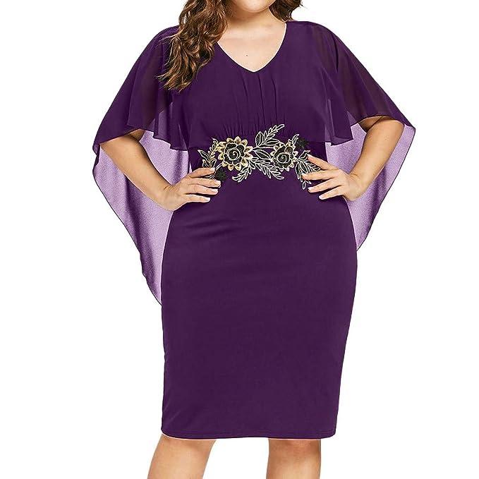 TOPKEAL Vestido de Color Liso de Tallas Grandes para Mujer Suelto ...