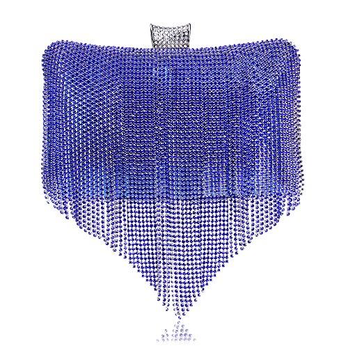 Pochette Blue Enveloppe Sac Diamante Dames Tassel Sac Femmes Bandoulière Prom Cadeau Sac Clubs À Pour Glitter Nuptiale Main Main à Soirée À Mariage BpdPxX