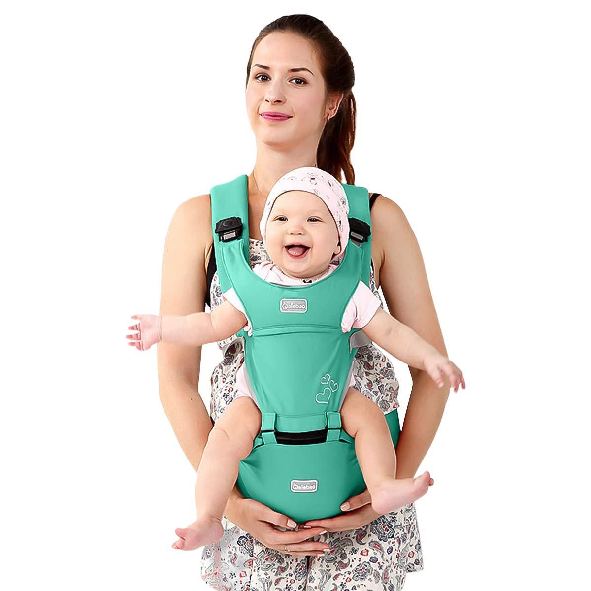 Ergonomisch 6 Tragende Positionen,Angepasst an Ihr Kind wachsende,Ideal Geschenk Multifunktional Blau Schmetterlingsdrehschnalle SONARIN Front Premium Hipseat Babytrage 100/% Baumwolle