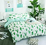 Emoji Bed in a Bag Twin Cartoon Fresh Cactus Bedding For Kids Boys Girls Bedding Sets Super Soft Bed Sheet Set Microfiber 3 PCS Bed Sheets Sets by STFLY (Green Cactus, Twin)