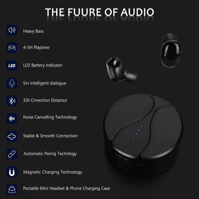 Auriculares Bluetooth X10 Auriculares inal/ámbricos Bluetooth 5.0 Sonido Est/éreo Auricular Mini Twins In-Ear Auriculares Carga Rapida Resistente al Agua con Caja de Carga para iOS y Android